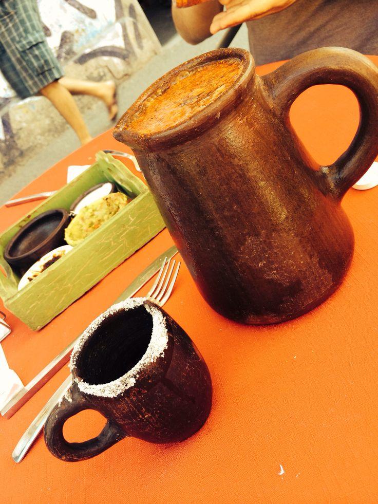 Al fin!!! Michelada de litro servida en vaso de greda y, mejor aún con Tajin el nuevo ingrediente a comprar.  #micheladasbyare