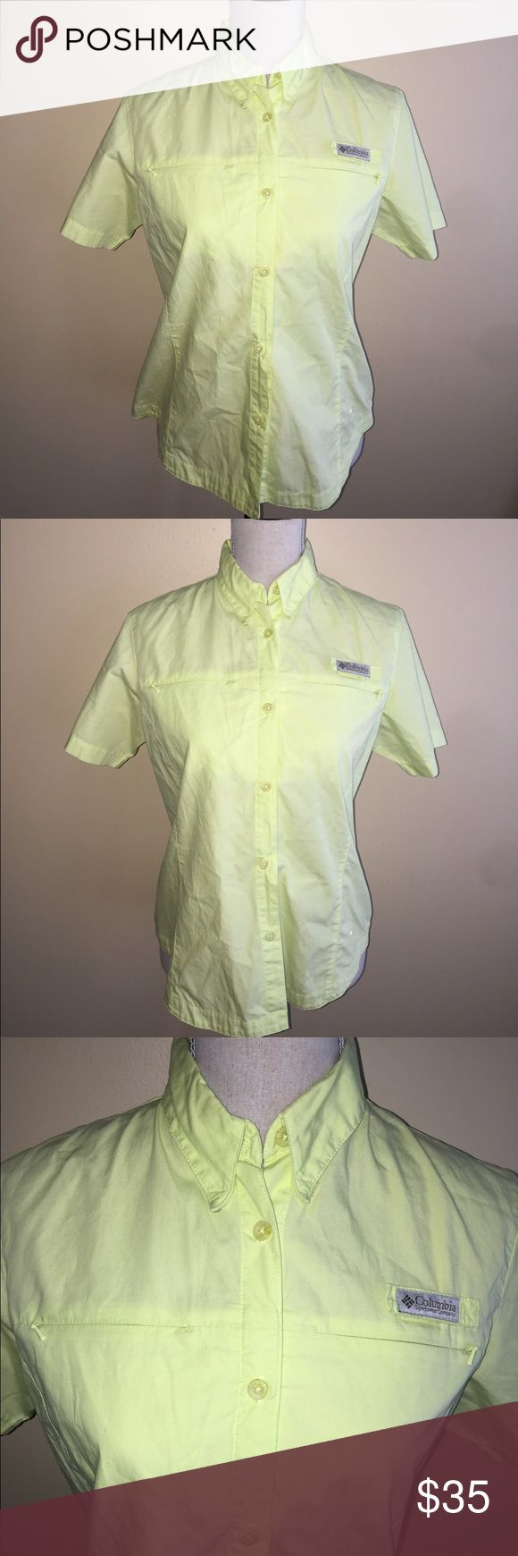 Columbia Sportswear Button Down Size Small Lime green button down with two front pockets on breast. Size Small. 100% cotton.🎈Make an offer 🎈accepts most offers Columbia Tops Button Down Shirts