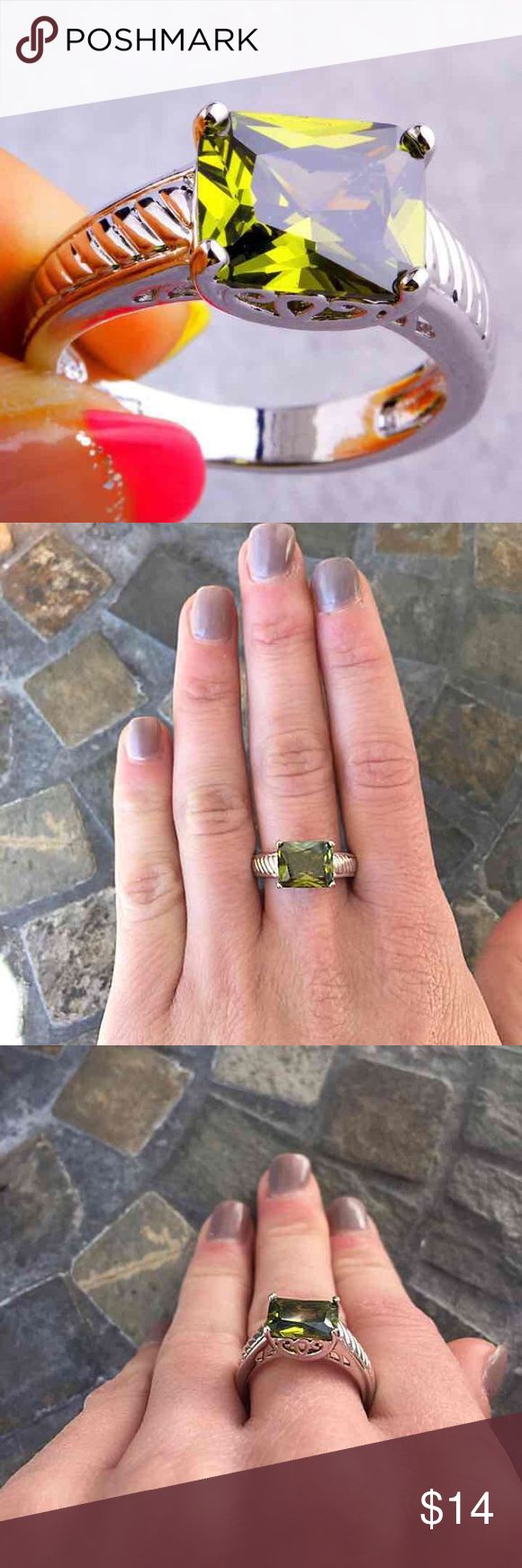Green Peridot Gemstone Silver Engagement Ring Super cute ring! It's a square/rectangle cut green Peridot center stone  Pretty designed silver plated band FIRM PRICE/NO TRADES❗ Jewelry Rings