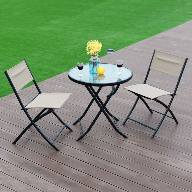 3 Pcs Patio Folding Table And Chair Set Folding Tables