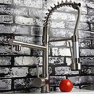 nichel spazzolato contemporaneo finitura singola maniglia estraibile rubinetto della cucina