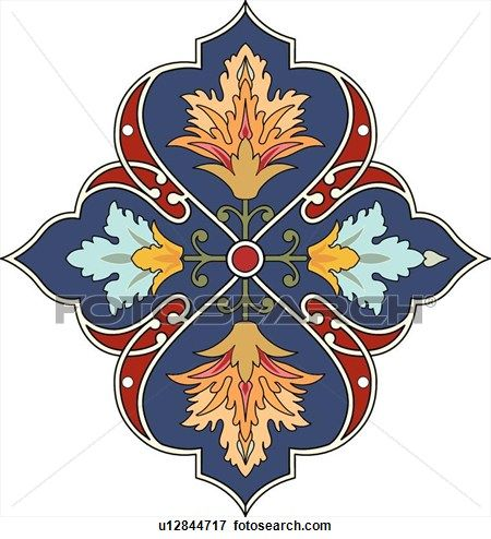 Blue, red and green flower Arabesque Design View Large Clip Art Graphic