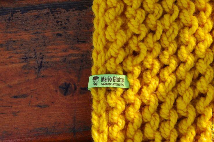 Купить Снуд вязаный из мериносовой полушерсти желтого цвета - однотонный, мериносовая шерсть, мериносовая полушерсть