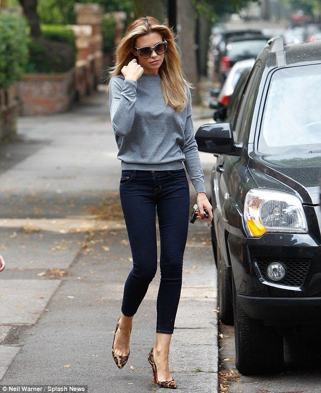 Blue jeans: Abbey looked stylish despite her distress. louboutin decollete leopard