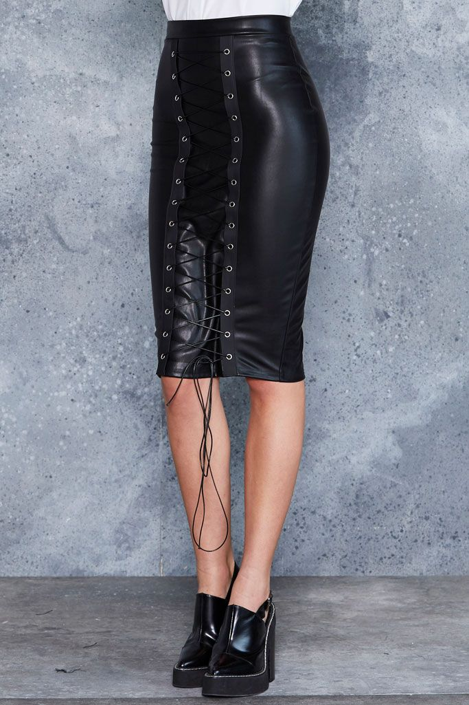 The Bound Front Midi Pencil Skirt - LIMITED ($90AUD) by BlackMilk Clothing