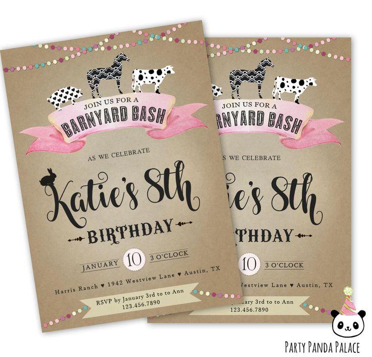 Barnyard Invitations, Barnyard Bash Birthday Invitations, Farm Birthday Party Theme, Farm Animals Invitations for a Girl, Girl's Barn Animals Birthday Party, Farm Animals Birthday Invites https://www.etsy.com/listing/566229546/barnyard-birthday-invitation-barnyard?ref=