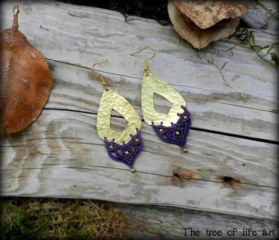 Macrame brass earrings with brass metal beads/Fairy earrings/Hand-Hammered jewelry/Gypsy earrings/Ethnic jewelry/Micromacrame/Elven jewelry