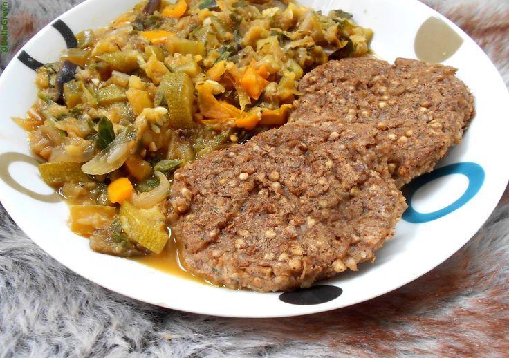 Bulle Green: Steak de kasha à la noisette et Ratatouille dorée