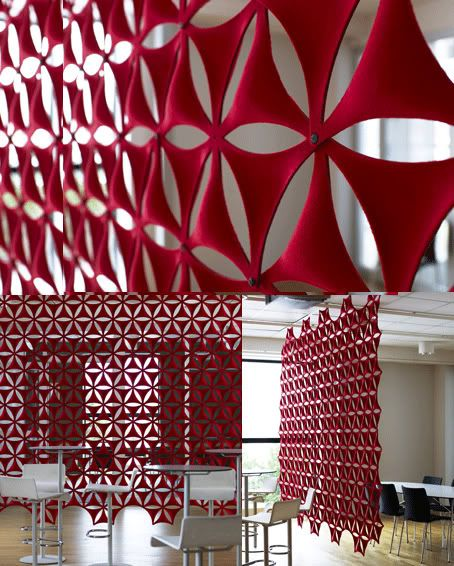 Airflake by ABSTRACTA- a sound absorbing screen made from moulded fiber felt - has worked well on several projects
