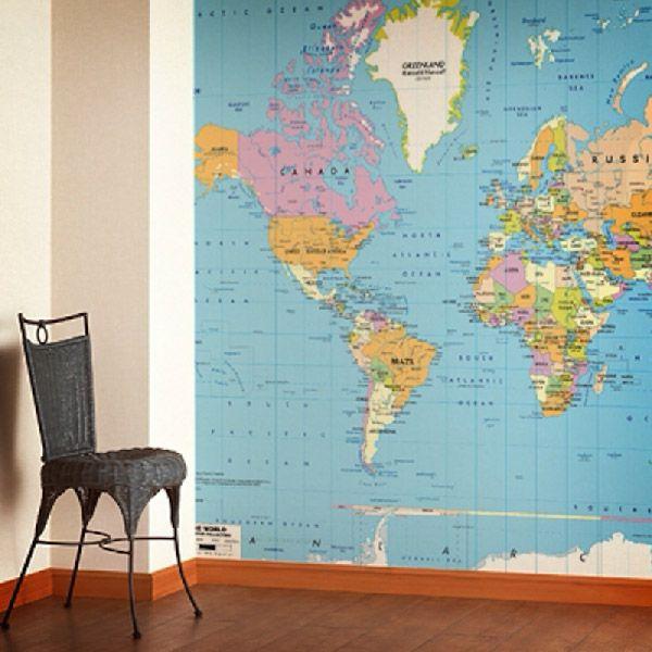 Mappa del mondo politico per decorare una parete #mappa #politica #adesivi #murali #vinile #deco #decorazione #muro #StickersMurali