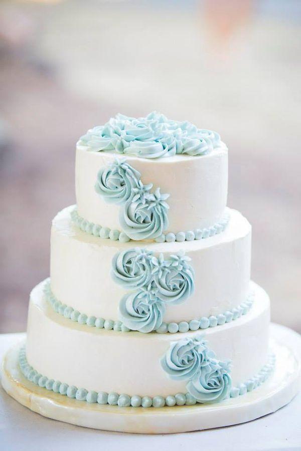 Powder Blue and White Swirled Roses   wedding cake  ~ all edible