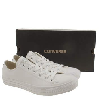 mens converse white all star leather mono ox trainers