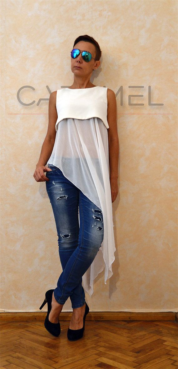 Party chiffon tunic / Sexy tunic tops / Asymmetric blouse / Fast delivery / Extravagant two parts tunic by CARAMELfs T4515
