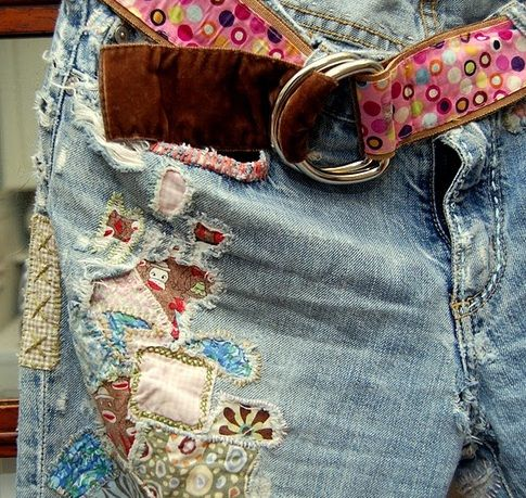 jeans, patched, embroidered