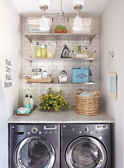 Show Off Pretty Organization A stylishly organized laundry room can be the quickest way to make this function-first space feel more inspiring. Particularly in a small room, consider open shelving above your appliances to maximize vertical storage space. We say skip the linen baskets and go with clear or wire containers instead. This way, detergents, soaps, and other laundry essentials can be prettily contained but easy to spot. Photo © Meredith Corporation. All rights reserved.