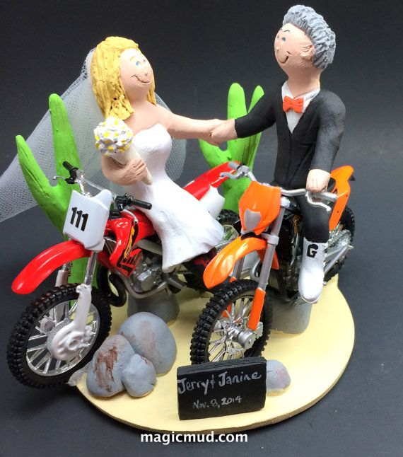 Desert Dirt Bikers Wedding Cake Topper, KTM Motorcycle Wedding Cake Topper, Honda Dirt Bike Wedding Cake Topper, Bikers Wedding Cake Topper    This photographed listing is but an example of what we will create for you....simply email or call toll free with your own info and pictures of yourselves, and we will sculpt for you a treasured memory from your wedding!    $235   #magicmud   1 800 231 9814   www.magicmud.com