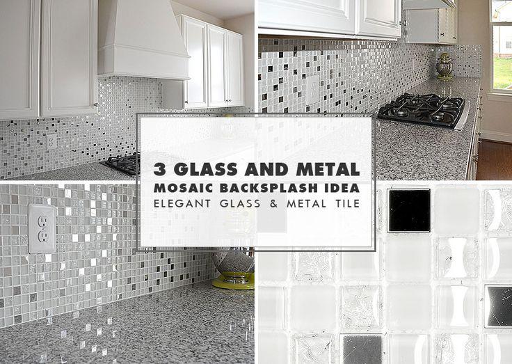 White Metal Backsplash Kitchen