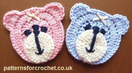 Free teddy bear face applique http://www.patternsforcrochet.co.uk/bear-face-applique-usa.html #patternsforcrochet #freecrochetpatterns