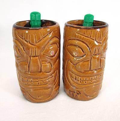 2 Trader VICS Tiki Like Brown Mugs Green Swizzle Sticks Hawaiian Cup Waikiki | eBay