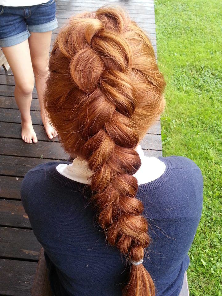 Duth/pancake braid. Works great on natural ginger hair / thick hair.