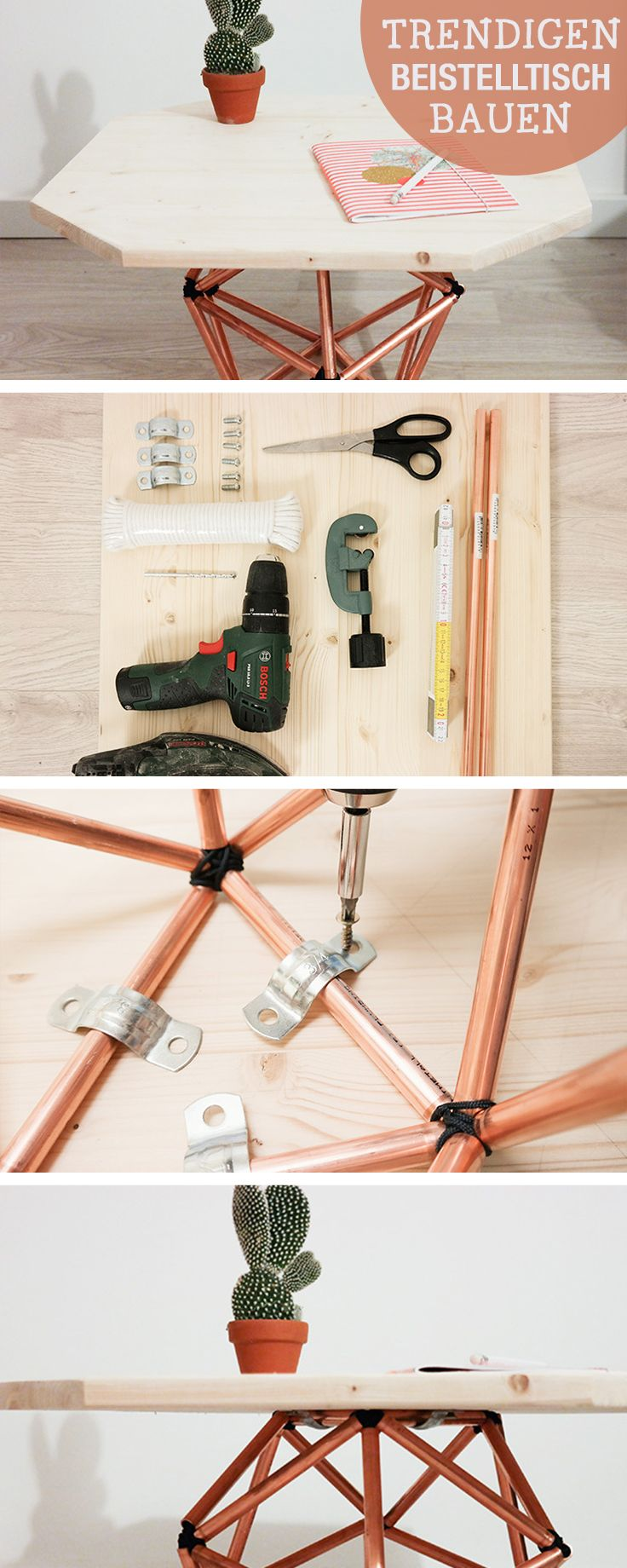 DIY- Anleitung: Couchtisch aus Kupferrohren bauen, Industriedesign / diy tutorial: table with copper pipes, industrial design via DaWanda.com