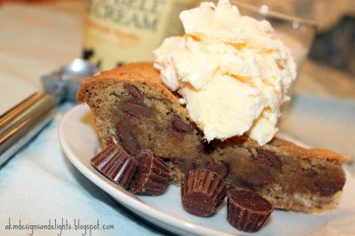 reeses peanutbutter cup filled cookie pie with crushed ...