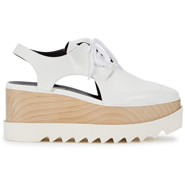Womens Platforms Stella McCartney White Cut-out Faux Leather Flatforms (13 775 ZAR) ❤ liked on Polyvore featuring shoes, vegan shoes, lace up shoes, cut out platform shoes, vegan leather shoes and laced shoes