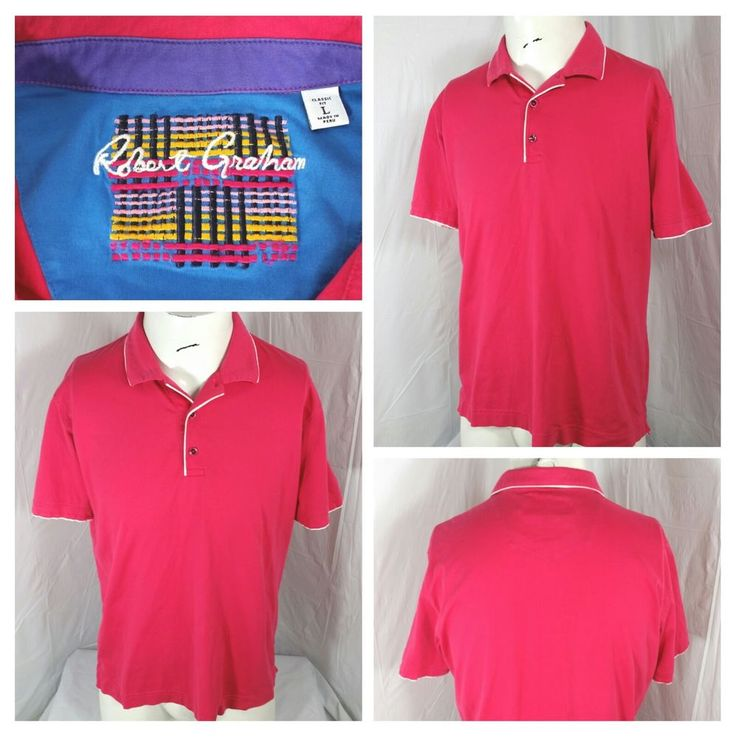 Robert Graham pink polo shirt short sleeve white trim 3 button mens large (A) #RobertGraham #PoloRugby