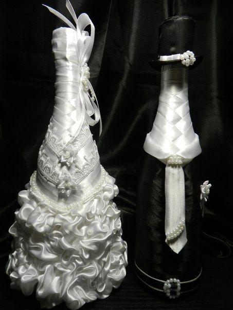 свадебный декор шампанского                                                                                                                                                                                 Más