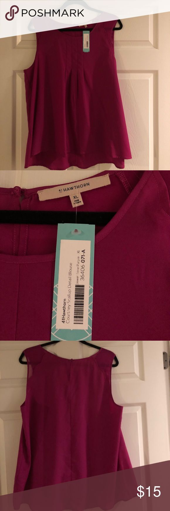 41 Hawthorne magenta tank top size extra-large 41 Hawthorne magenta tank top called Courtney scallop detail blouse size extra-large from stitch fix 41 hawthorn Tops Tank Tops