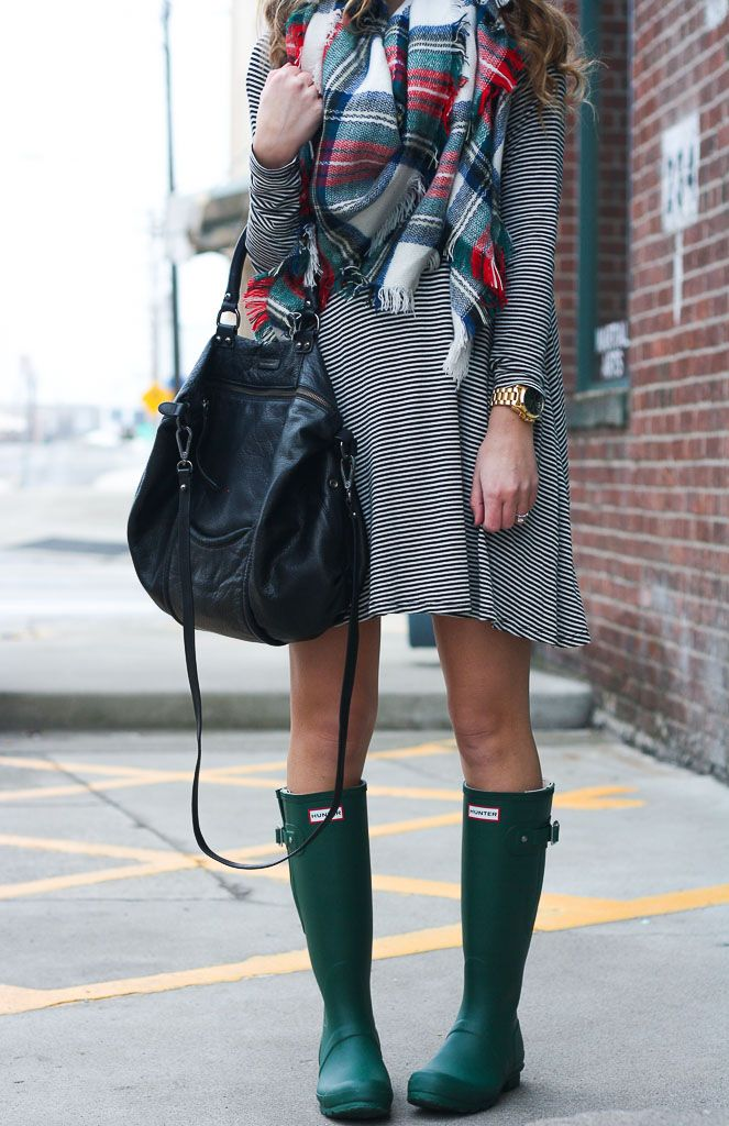 Striped Swing Dress + Hunter Boots | Twenties Girl Style