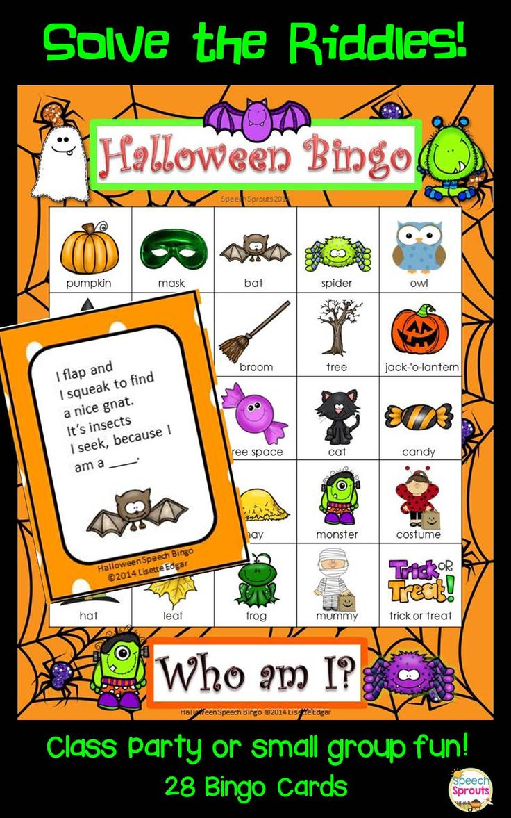 halloween bingo riddles guilt free educational halloween fun kids love solving the - Preschool Halloween Bingo