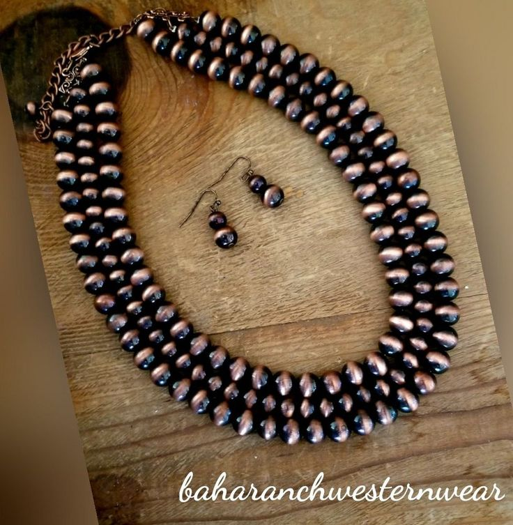 Cowgirl Bling gypsy navajo pEARLS copper SURGE PLATE NECKLACE SET #Unbranded