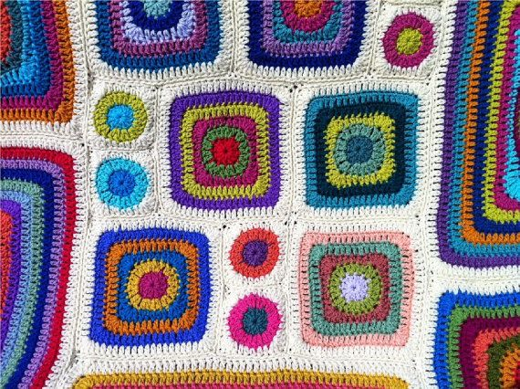 Ganchillo afgano arco iris de caleidoscopio por CrochetKaleidoscope