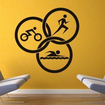 Triathlon Circles Athletics Wall Art Sticker Wall Decals - Sports & Hobbies