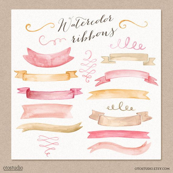 Watercolor Cliparts Ribbons and Swashes Pink Gold Digital cliparts for branding and scrapbooking $8.00 USD