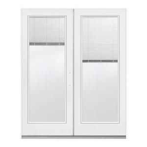 72 in. x 80 in. White Left-Hand Inswing French Patio Door with Tilt-and-Raise Blinds-H37797 at The Home Depot - $599