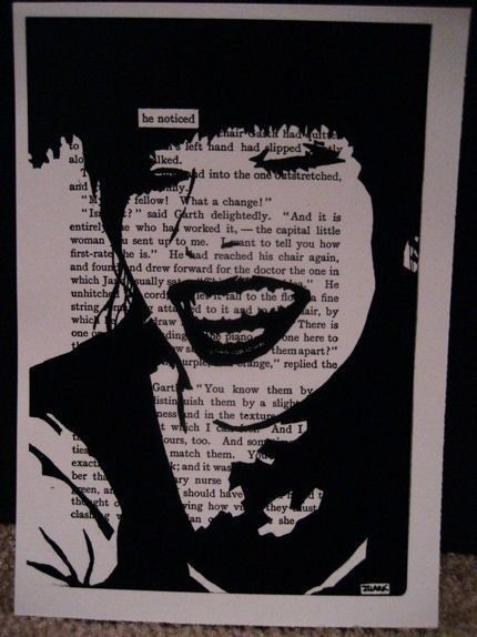 Sharpie art - altered book page - pick key phrase and draw around it!