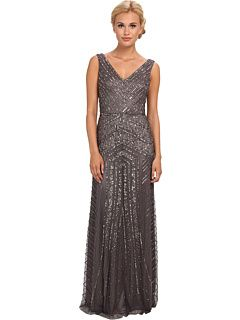 Adrianna Papell Long V-Neck Beaded Gown