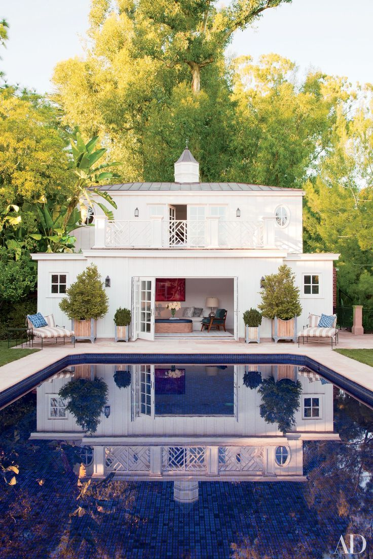#3  These 12 Guesthouses Are a Visitor's Dream Photos | Architectural Digest.  At film producer Steve Tisch's refined yet relaxed Beverly Hills home, the neo-Regency poolhouse, designed by Appleton & Assoc., also functions as the guest quarters.