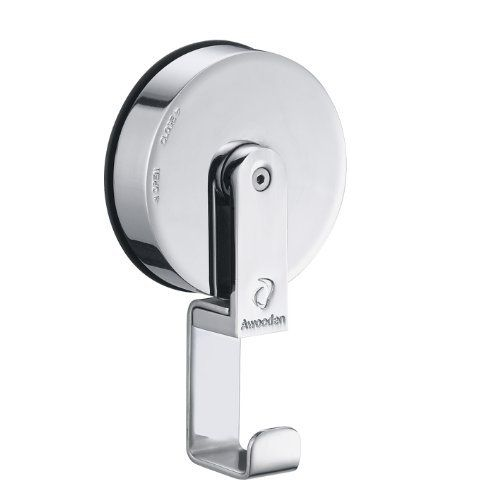 "Suction Cup Hook Chrome Finish by Janisloft. $13.99. Scution cup size 2.5"" diameter. Suction cup hook. Made of stainless steel material with polish chrome finish. Install in 3 seconds on any smooth flat surface, no tool required. Hold up to 15 pounds. By Awooden, the leader in Multi-function Suction Shelving System, the patented design suction system   let you install the unit in 3 second on any smooth surface without using any tool, stainless steel. available in  Chrome ..."