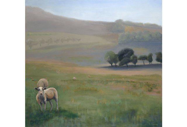 Sheep in a Foggy English Landscape