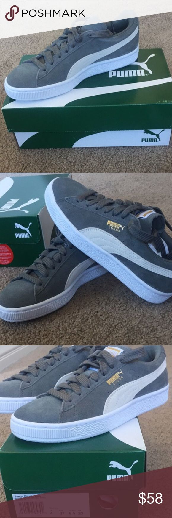 Grey suede puma sneakers Brand new, never worn classic grey suede pumas. Too small for me Puma Shoes Sneakers