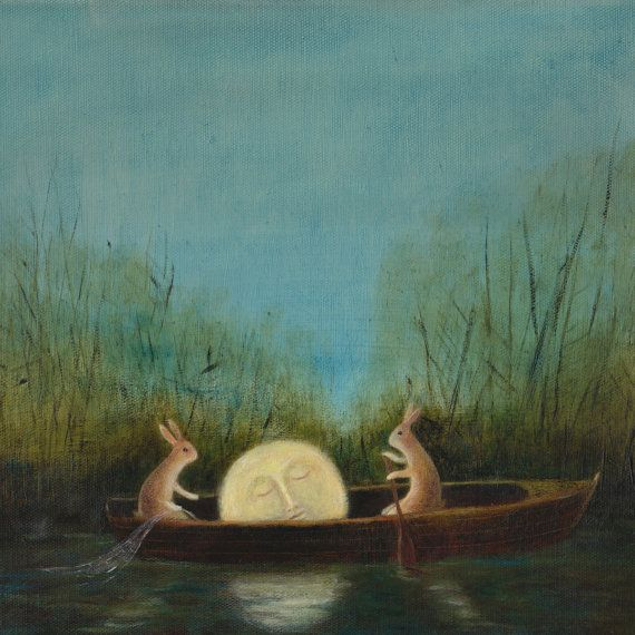 """Animal Painting: """"The Dreaming Moon"""""""