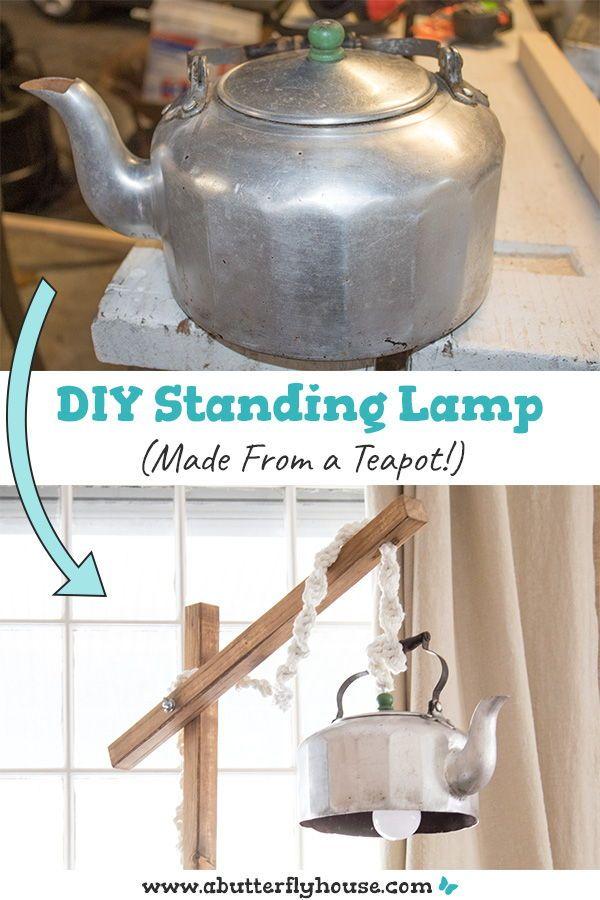 Diy Standing Lamp From A Teapot Diy Floor Lamp Diy Furniture