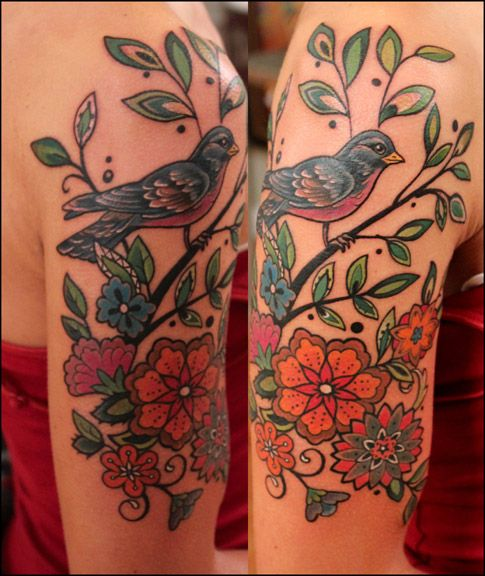 Perfect tattoo idea for my back. But not a bird, and maybe an owl! I love these flowers  | followpics.co