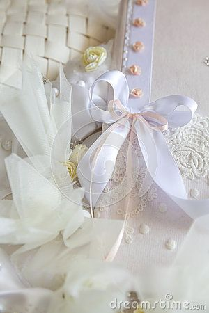 Wedding Book of Wishes decorated with ribbons and dried flowers
