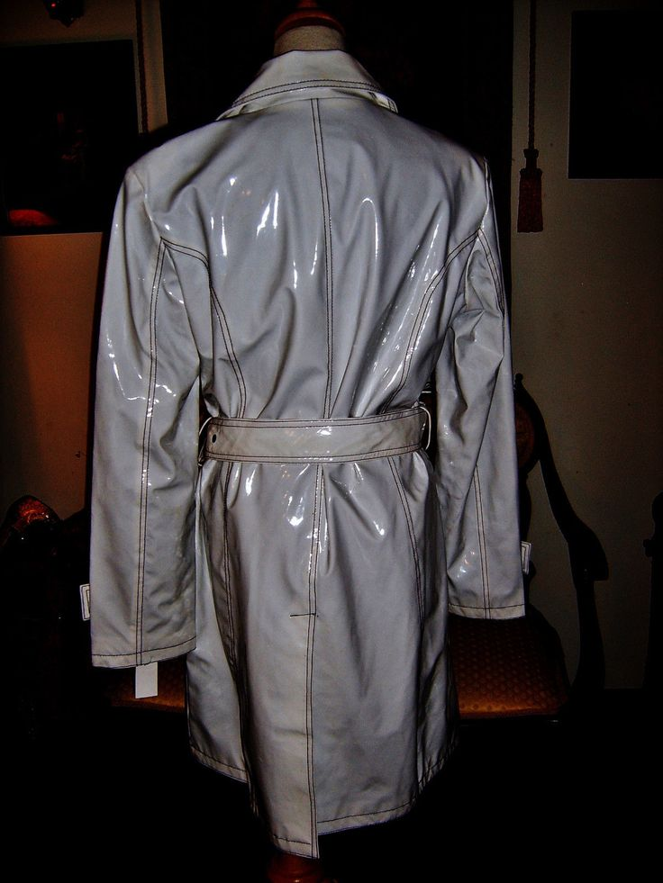Pvc Shiny Vinyl Rain Slicker Raincoat Long Trench Coat