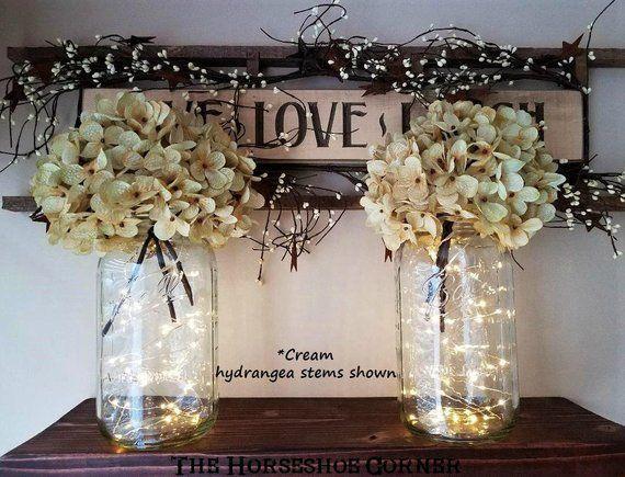 Mason Jar With Lights Lighted Mason Jar Vase Rustic Wedding Etsy Lighted Centerpieces Mason Jar Vases Mason Jar Lighting