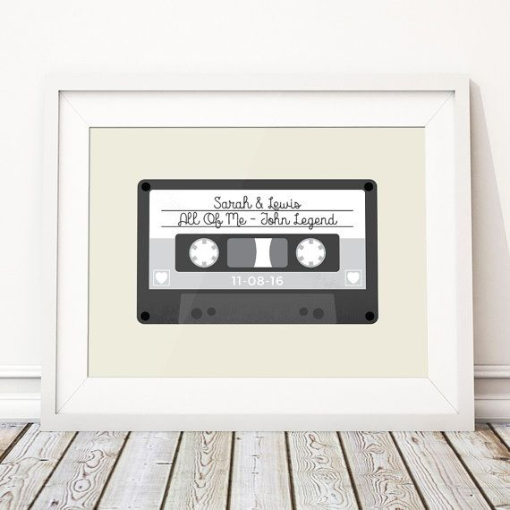 Retro Wedding Present, Unique Wedding Gift For Couple, Wedding Gift Ideas, Personalised Print Mix Tape Cassette Song - 'Tape' (Unframed)